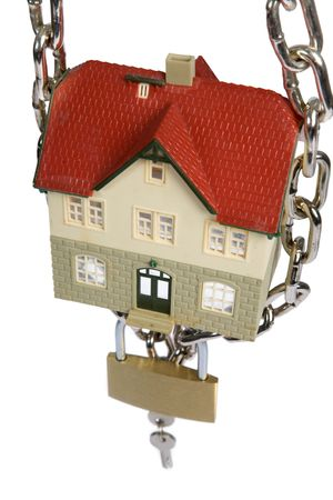 House  locked with padlock on white background Stock Photo - 5025039