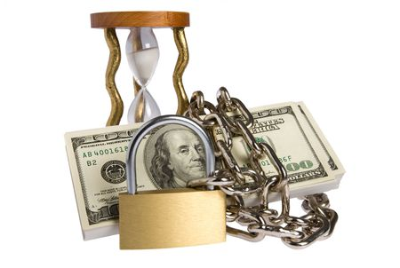 constrain: dollars with chain on white background