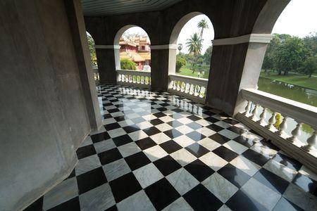 verdieping met retro geruit patroon