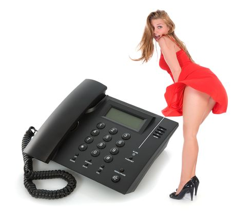 Business phone and girl on white photo