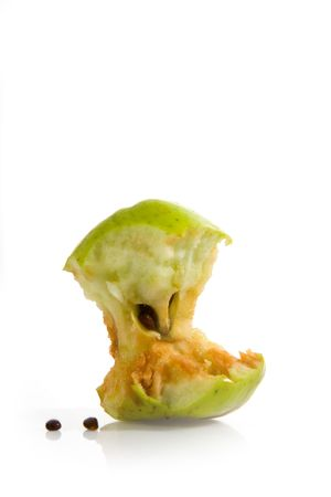 apple core: Apple core on isolated white background Stock Photo