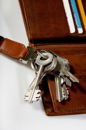bunch of keys on brown leather wallet photo