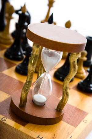 Variants chess composition with hourglass photo