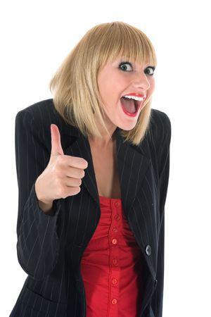 elation: expressive woman on white background Stock Photo
