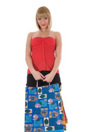 copysapce: expressive woman  on white background  shopping