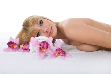 Attractive woman getting spa treatment on white Stock Photo - 5071908