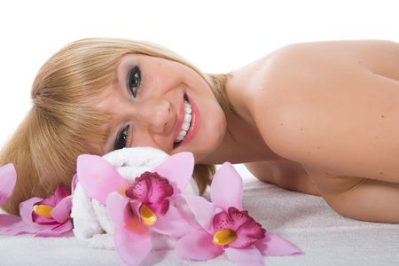 Attractive woman getting spa treatment on white Stock Photo - 5071937