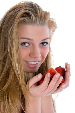 beautiful girl with strawberry over white Stock Photo - 5074015
