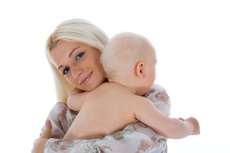 happy mother with baby over white Stock Photo - 5090360
