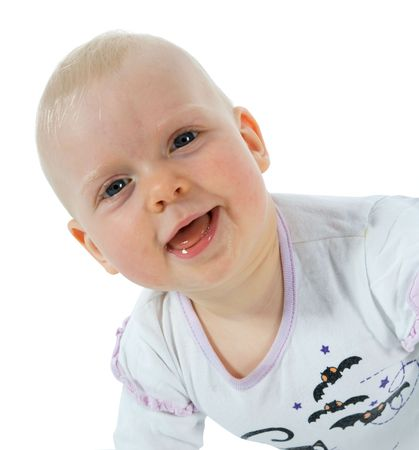 Little Baby Girl with hair stuck up taken closeup Stock Photo - 5090349