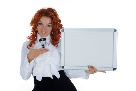 Beautiful young girl showing a blank board. Place for text Stock Photo - 5092911