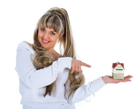 Business woman advertises real estate on white background photo