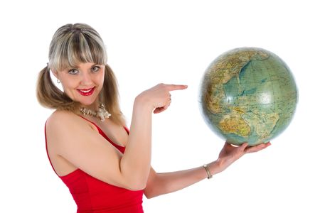Young woman with  globe on  white  background photo