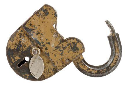 ensuring:  old padlock isolated on white background Stock Photo