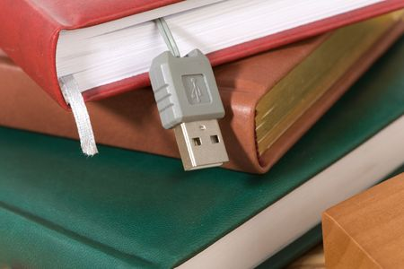 Books stack and flash memory photo