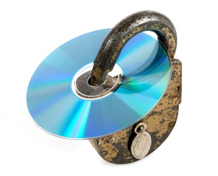 discs: CD discs and padlock on white Stock Photo