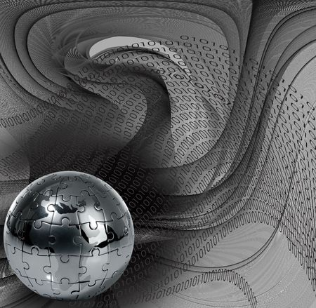 Globe puzzle on abstract  background photo