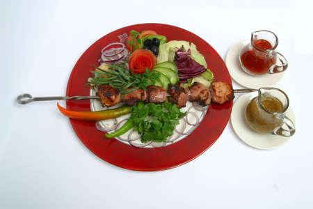 mea: Georgian, food, dinner, fresh, meat, roast, mea