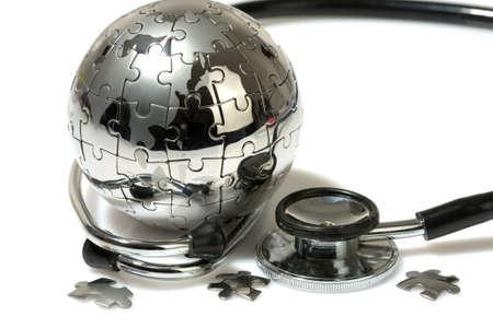 Globe puzzle on white background. Medical concept.