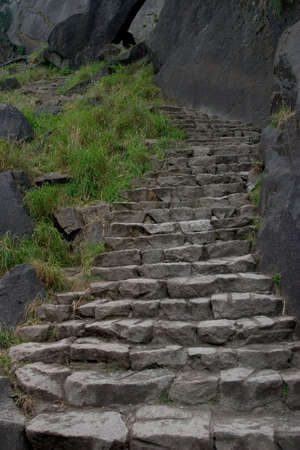 strenuous: A portion of the 600 granite stairs that lead to the top of Vernal Falls, Yosemite NP.