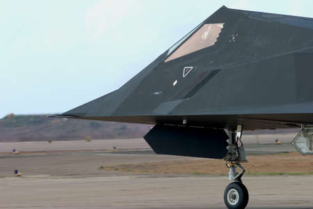 afterburner: A stealth fighter taxis out to the runway at the Miramar Air Show, California. Stock Photo