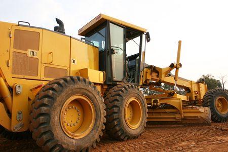 Grader road construction equipment Stock Photo