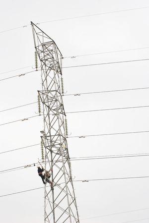 savety: Workers climbing on power pylon