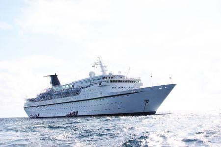 docked: Ship docked at sea Stock Photo