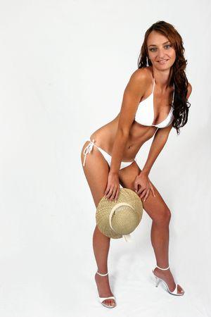 Woman sitting in bikini with shoes on Stock Photo - 294789