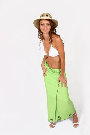 Woman standing in bikini with hat on Stock Photo - 300331