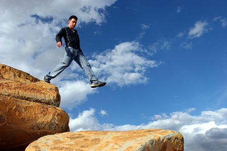 Man walking the corporate ladder down Stock Photo