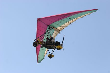 Microlight in fly by Stock Photo