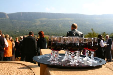 Glasses of wine after a wedding celebration