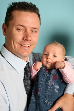 Proud father with baby photo