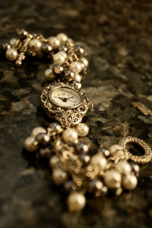 purls: Black and White beaded watch Stock Photo