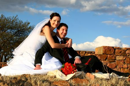Bride and Groom having a picnic Stock Photo