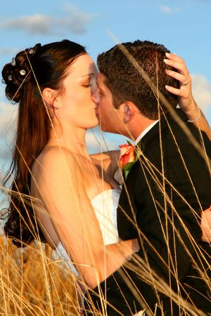 Bride and groom kissing in a field of long grass