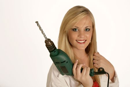 handywoman: Handywoman with a drill