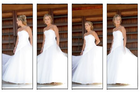 A Young bride on her wedding day, multiple images in one