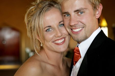 Young bride on her wedding day with her husband