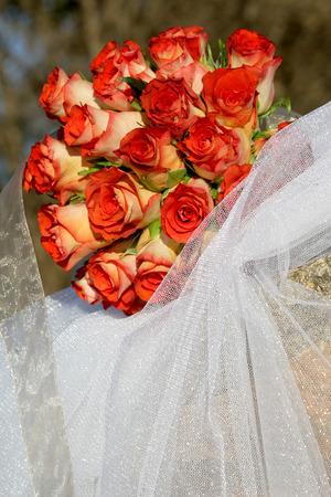 A rose wedding bouquet outside