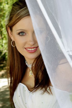 A bride standing behind net in her dress  Stock Photo