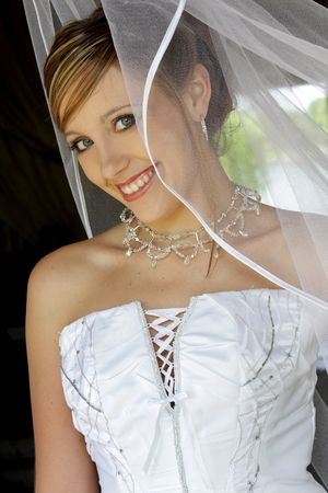 A bride standing behind net in her dress  photo
