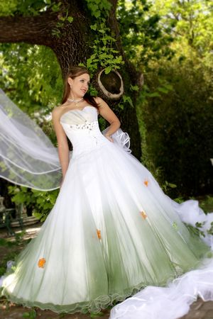 A bride standing under a tree in her wedding dress Stock Photo