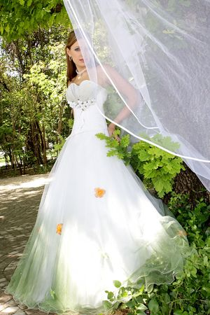Bride standing outside in her wedding dress photo