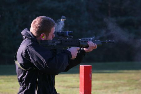 An SA80 assault rifle on the range photo