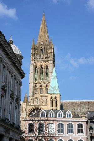 spire: Truro Cathedral Spire Stock Photo