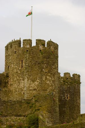 welsh flag: Due delle torri rotonde di Castello di Conwy, Galles, con la bandiera gallese