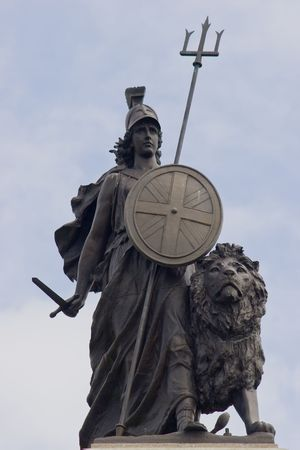 Proud Britannia, with sword in hand with lion standing ready