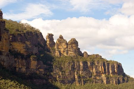 new south wales: The Three Sisters at Katoomba from the valley below, Blue Mountains, New South Wales, Australia Stock Photo